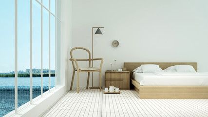Interior hotel bedroom space and swimming pool 3d rendering - nature view background