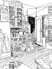 Fotobehang Illustratie Parijs Sketch of the messy room