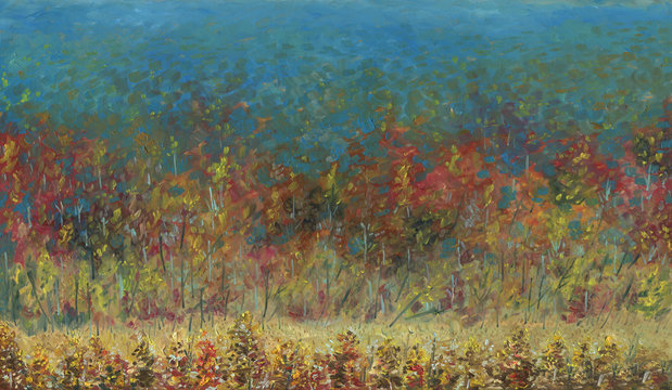 Autumn forest leaving into the distance. View from above. It's a nasty day. In the foreground there is a small meadow. Light haze. Oil painting on wood.