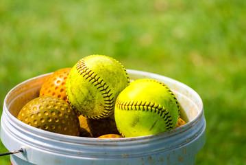 Yellow softball for match