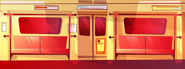 Subway train inside seamless vector illustration of empty metro with seats, windows and exit doors. Cartoon design of underground public transport for parallax or computer games background pattern