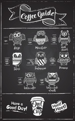 Coffee menu design. The coffee drinks infographics, owls set characters on chalkboard background.