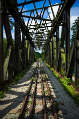 Abandoned Railroad Trestle and Train Tracks vanishing into the horizon