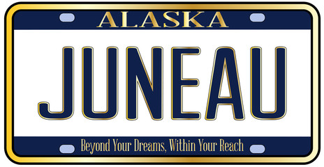 Alaska State License Plate Mockup With The Capital City Juneau