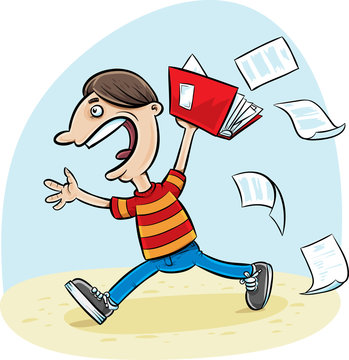 A cartoon of a male school student celebrating the last day of school before summer vacation with papers falling from a notebook.