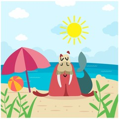 cute funny walrus enjoy in summer beach cartoon character