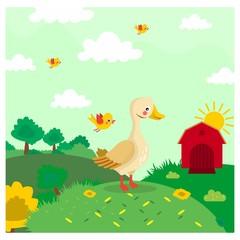 cute funny little duck standing alone in farm yard cartoon character