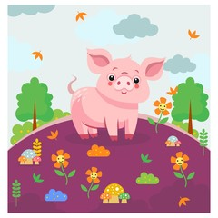 cute funny little pig in the purple garden cartoon character