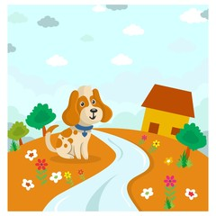 cute funny little puppy standing near the path foot cartoon character