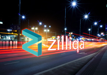 Concept of Zilliqa coin  moving fast  on the road, a Cryptocurrency blockchain platform , Digital money