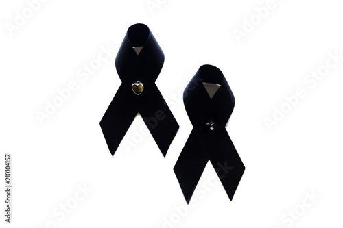 Bow Black Awareness Ribbon Isolated Black Ribbon Symbol For