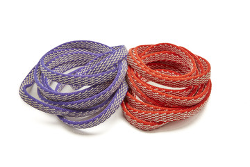 Two Ropes, Red and Purple Coiled in a spiral