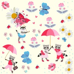Funny little raccoons and kitty with pink umbrellas, butterflies, flowers and hearts isolated on light yellow background. Endless pattern for children. Vector spring or summer design.