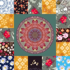 Square patchwork pattern with flowers, hearts, mandala and paisley. Ethnic motives. Vector summer design.