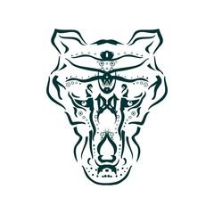 Ornamental tattoo wolf head. Abstract hand drawn style