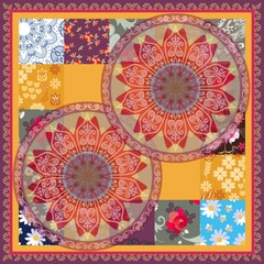 Square silk scarf, cushion, greeting or invitation card with flowers mandalas and round paisley border in patchwork style. Indian, thai motives. Ethnic vector pattern.