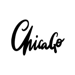 Chicago brush calligraphy vector lettering.