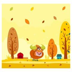 cute funny bull in the autumn season cartoon character