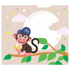 cute funny monkey eating banana in a tree cartoon character