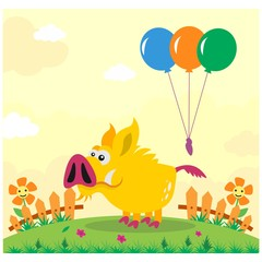 cute funny yellow wild boar in the garden cartoon character