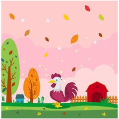 cute funny rooster in the farms cartoon character