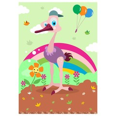 cute funny ostrich in the rainbow gardencartoon character