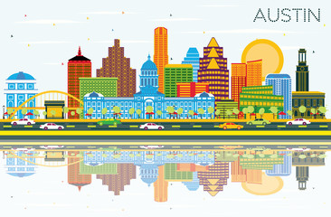 Austin Texas Skyline with Color Buildings, Blue Sky and Reflections.