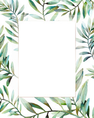 Watercolor frame with various green plants and leaves. Hand drawn natural card with greenery branches on white background. Wedding or greeting design in modern style