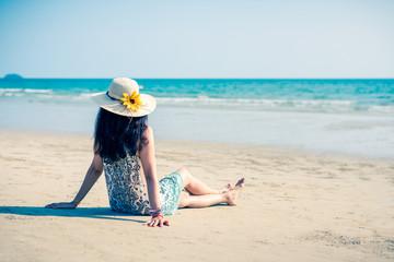Asian girl on the beach