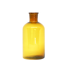 Short Bottle brown glass isolated on white background with clipping path.