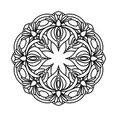 Flower mandala vector illustration. Adult coloring page. Circular abstract floral oriental pattern, vintage decorative elements. Isolated on white background