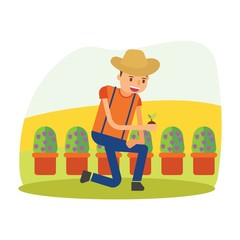 cute farmers who are planting blueberry cartoon character
