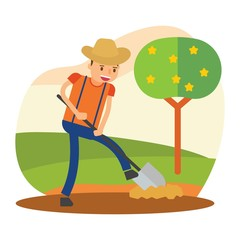 cute farmers who are planting star fruit tree cartoon character