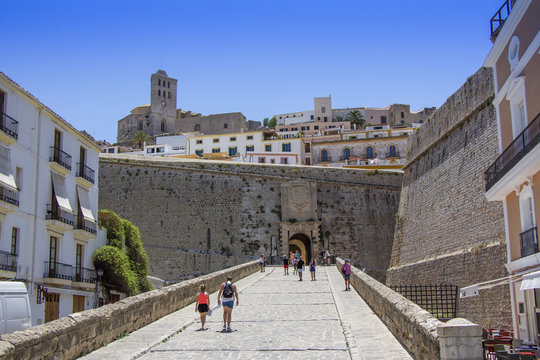 Entry to the Ibiza old town, called Dalt Vila. IBIZA is one of the Balearic islands that are located in the Mediterranean Sea