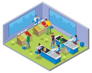 Shopping Vegetables Isometric Composition