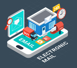 Electronic Mail Isometric Composition