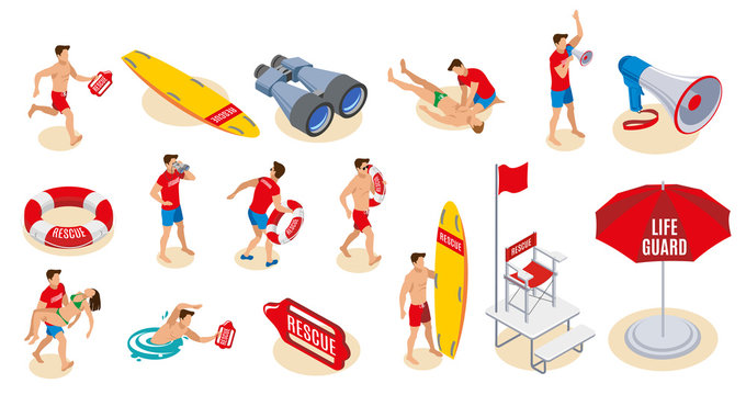 Beach Lifeguards Isometric Icons