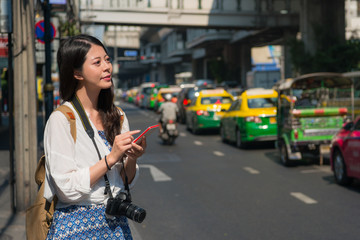 Woman using smartphone 4g internet