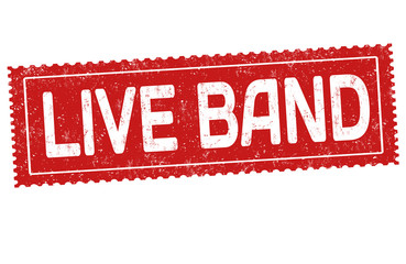 Live band grunge rubber stamp