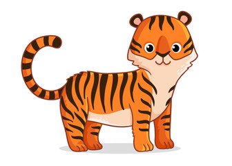 Cute tiger stands on a white background. Vector illustration with a predator on a white background in cartoon style.