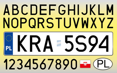 Poland, car license plate, letters, numbers and symbols