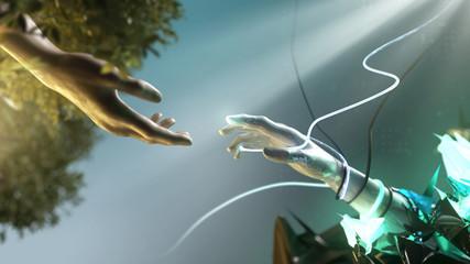 Hand greift nach Roboterhand (Künstlicher Intelligenz)