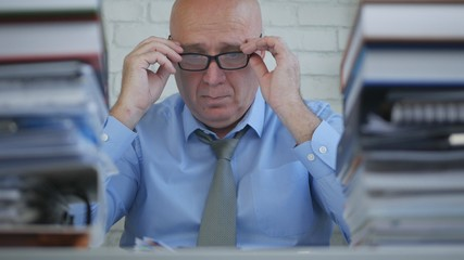 Businessman Wearing Eyeglasses Start Working Day In Accounting Company