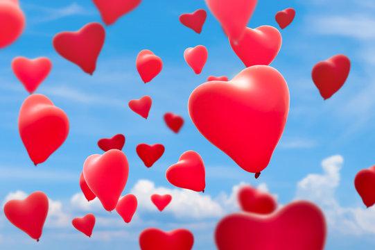 viele rote herz luftballons in der luft