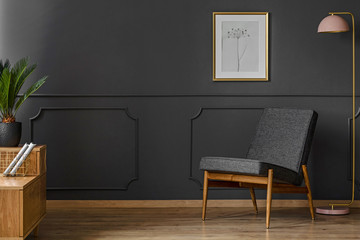 Black chair in room interior
