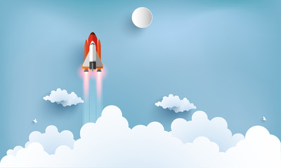 illustration of the shuttle. flying across beautiful clouds at full speed. paper art design