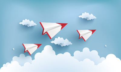 paper airplanes flying across clouds. design paper art and crafts