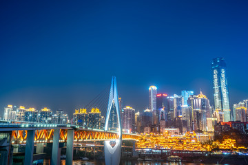 Night view of the city near hongya cave in chongqing, China