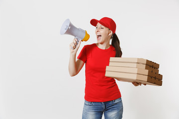 Expressive hot woman in red cap t-shirt giving food order pizza boxes isolated on white background. Female courier screaming in megaphone, holding italian pizza in cardboard flatbox. Delivery concept.