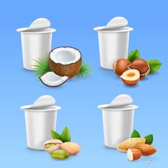 Yogurt package Nuts set Hazelnut, pistachio, almond, coconut